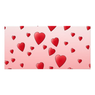 Red Love Hearts Pattern Photo Greeting Card
