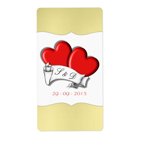 Red Love Hearts Scroll Tattoo Gold Labels