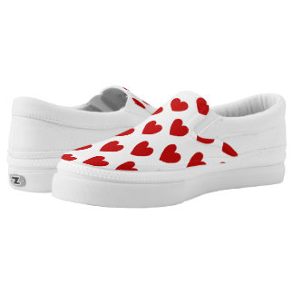 Red Love Hearts Zipz Slip On Sneakers Shoes