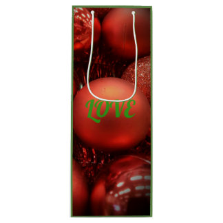 "Red ""LOVE"" Holiday Ornamental Wine Gift Bags"