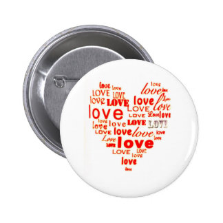 Red love word cloud pinback buttons