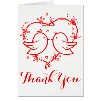Red Lovebirds and Heart Thank You Wedding Love Card