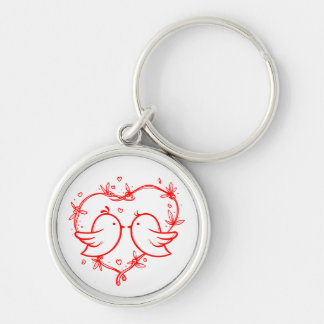 Red Lovebirds And Heart Wedding Love Engagement Keychain