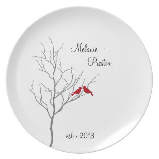 Red Lovebirds : Plate