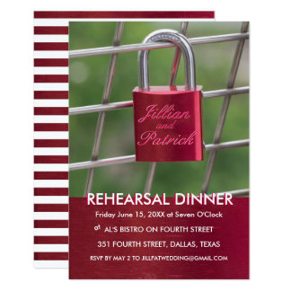 Red Lovers Padlock Chain Link Rehearsal Dinner Card
