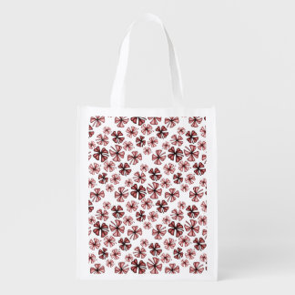Red Lucky Shamrock Clover Reusable Grocery Bag