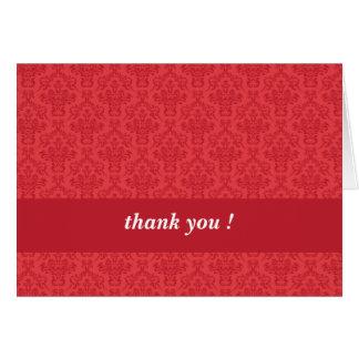 Red luxury, elegant damask thank you custom card