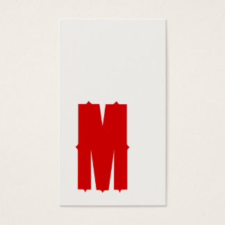 Red M Retro Monogrammed Typography Business Card