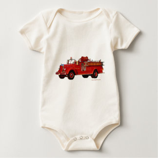 Red_Mack_Fire_truck_Texturized Baby Bodysuit