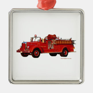 Red_Mack_Fire_truck_Texturized Metal Ornament