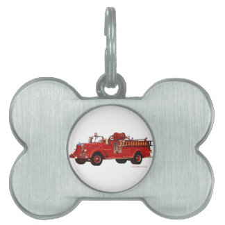 Red_Mack_Fire_truck_Texturized Pet Tag