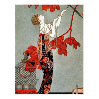 Red Madame Art Deco Design Postcard