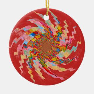 Red Magic Pinwheel Christmas Tree Bauble Ceramic Ornament