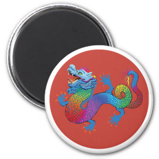 Red Magnet with colorful dragon