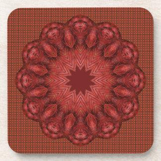Red Mandala Drink Coaster