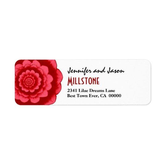 Red Mandala Fantasy Flower Modern Lettering Return Address Label
