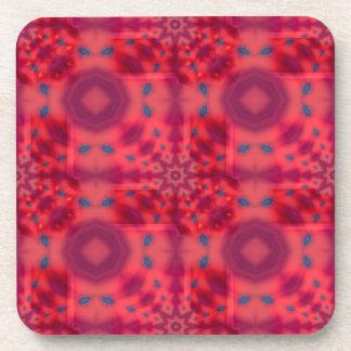Red Mandala Kaleidoscope Coaster