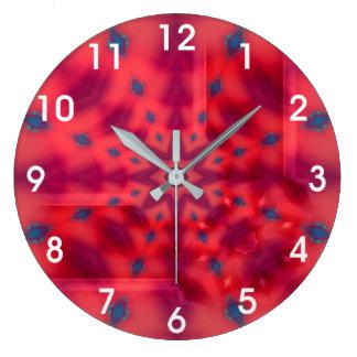 Red Mandala Kaleidoscope Large Clock