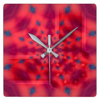 Red Mandala Kaleidoscope Square Wall Clock