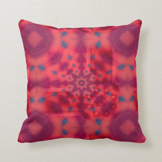 Red Mandala Kaleidoscope Throw Pillow