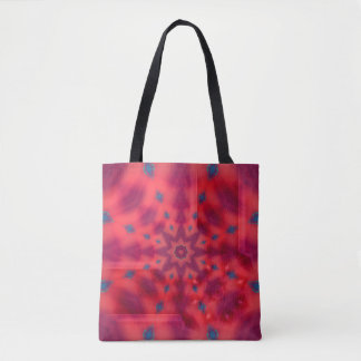 Red Mandala Kaleidoscope Tote Bag