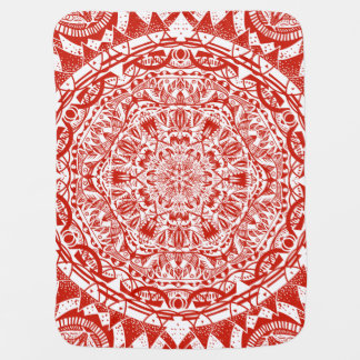Red mandala pattern baby blanket