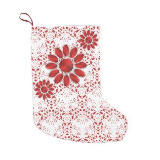 Red Mandala Pattern Christmas Socks 1