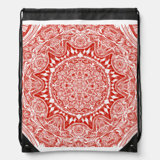 Red mandala pattern drawstring bag