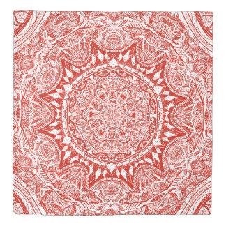 Red mandala pattern duvet cover