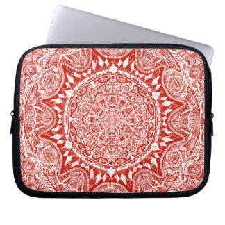 Red mandala pattern laptop sleeve