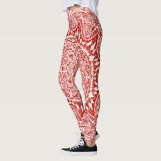 Red mandala pattern leggings