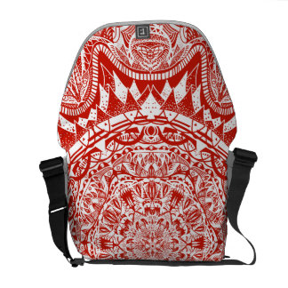 Red mandala pattern messenger bag
