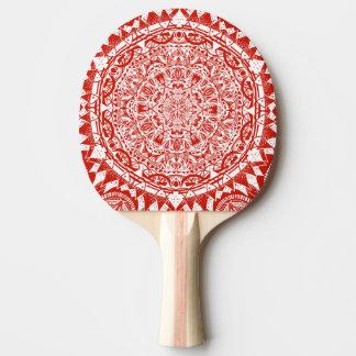 Red mandala pattern ping pong paddle
