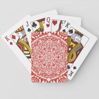 Red mandala pattern playing cards