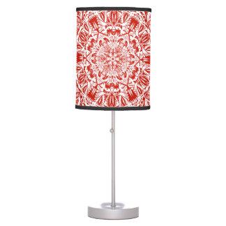 Red mandala pattern table lamp
