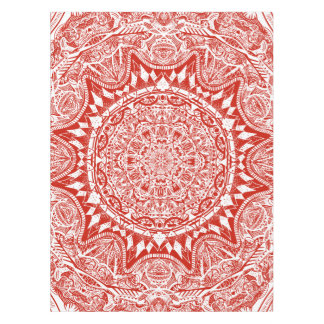 Red mandala pattern tablecloth