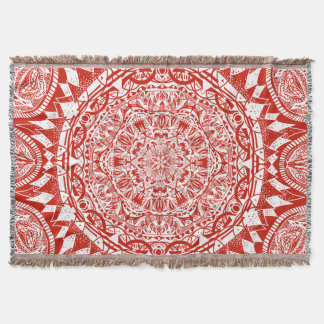 Red mandala pattern throw blanket