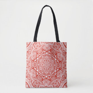 Red mandala pattern tote bag