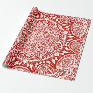 Red mandala pattern wrapping paper