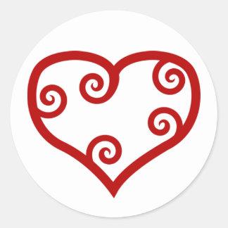 Red Maori Heart Round Sticker