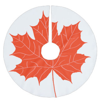 Red maple leaf brushed polyester tree skirt
