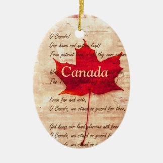 Red maple leaf  -  Canada Ceramic Oval Ornament