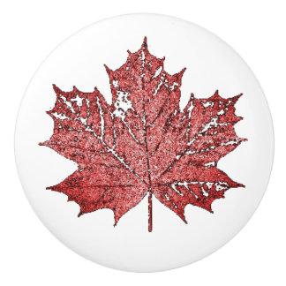 Red Maple Leaf Ceramic Knob