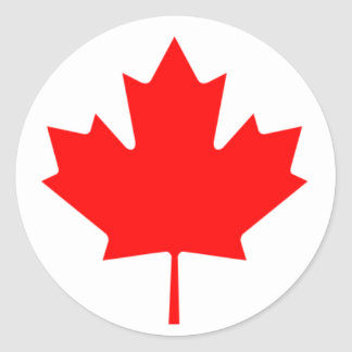 Red Maple Leaf Classic Round Sticker