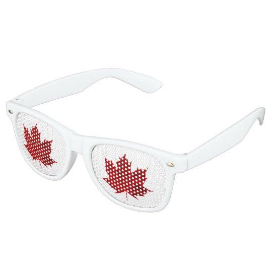 Red Maple Leaf Design Retro Sunglasses