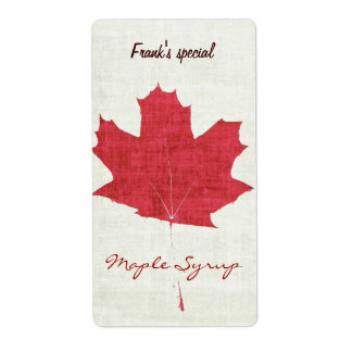 red maple leaf maple syrup label shipping label