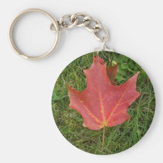 Red Maple Leaf on Grass-Canada Day Keychain