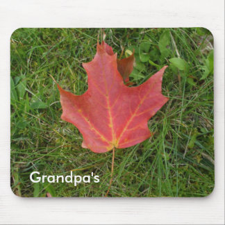 Red Maple Leaf on Grass Mouse Pad