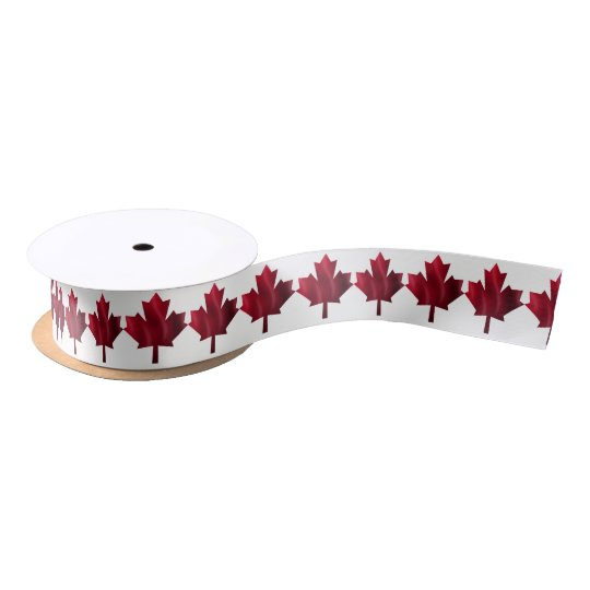 Red Maple Leaf Satin Ribbon