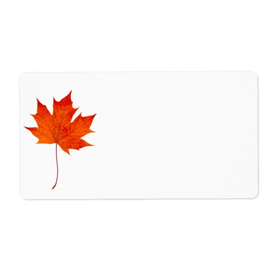 Red maple leaf shipping label